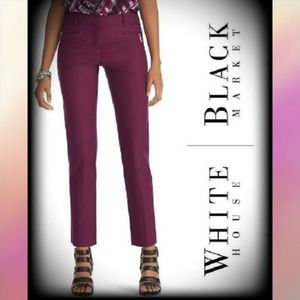 NWT WHBM Perfect Form Burgundy Cropped Pant